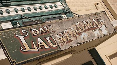 Vanishing Storefronts Photograph - Vintage Laundromat Signage 1 Hico Texas by Trace Ready