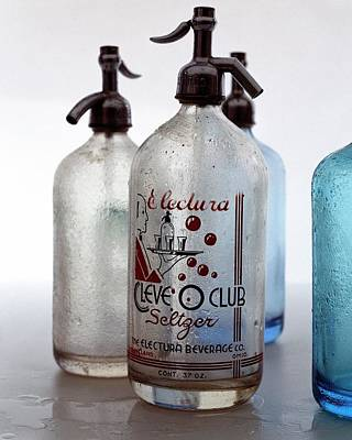 Interior Decoration Photograph - Vintage Leve-o-club Seltzer Bottles by Romulo Yanes