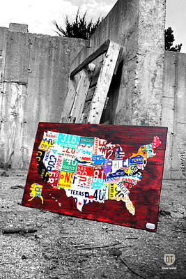Concrete Mixed Media - Vintage License Plates Reborn by Design Turnpike