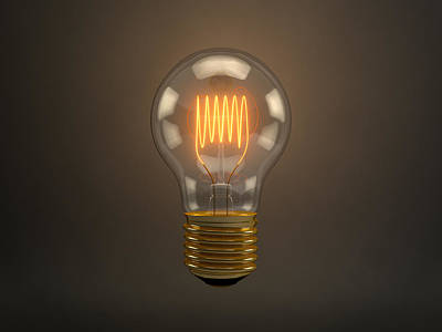 Vintage Light Bulb Art Print by Scott Norris