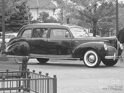 Photograph - Vintage Lincoln Limo Black N White by Bobbee Rickard