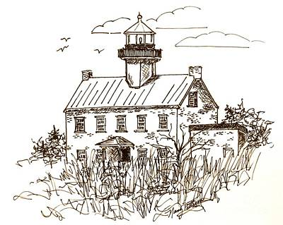 Drawing - Vintage Lines Of East Point Lighthouse by Nancy Patterson