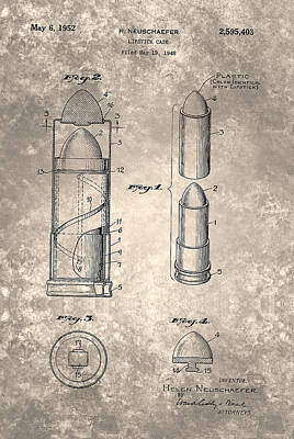 Painting - Vintage Lipstick Case Patent 1952 by Celestial Images