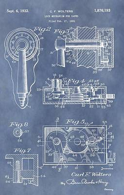 Mechanisms Mixed Media - Vintage Lock Patent by Dan Sproul