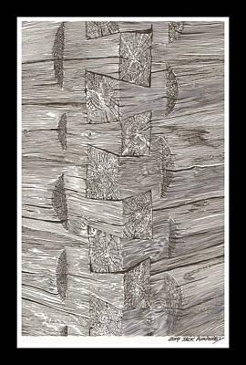 Drawing - Vintage Log Cabin Corner Detail by Jack Pumphrey
