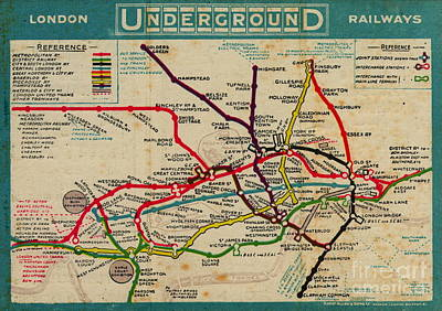 London Map Painting - Vintage London Subway Map by Baltzgar