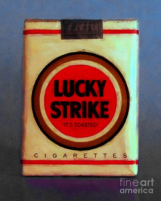 Wingsdomain Digital Art - Vintage Lucky Strike Cigarette - Painterly - V1 by Wingsdomain Art and Photography