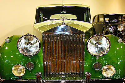 Photograph - Vintage Luxury Green Rolls Royce  by Jerry Cowart
