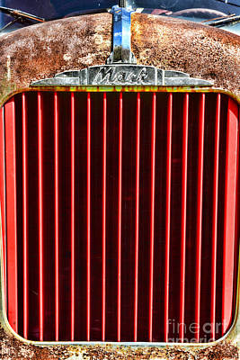 Big Rigs Photograph - Vintage Mack Grill by Paul Ward
