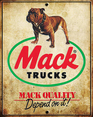 Vintage Digital Art - Vintage Mack Trucks Metal Sign by Marvin Blaine