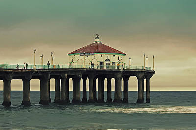 Vintage Manhattan Beach Pier Art Print by Kim Hojnacki