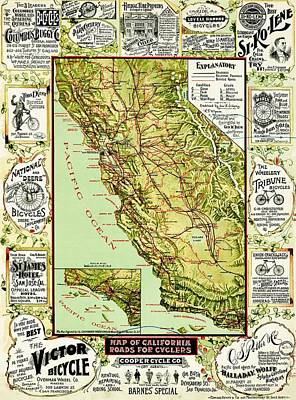 Photograph - Vintage Map For California Cyclists by Benjamin Yeager
