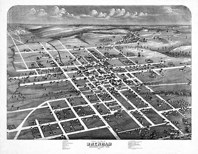 Old Map Photograph - Vintage Map Of Brenham Texas 1873 by Stephen Stookey