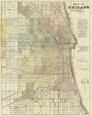 Vintage Map Of Chicago - 1857 Art Print