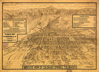 Vintage Map Of Colorado Springs 1909 Art Print by Mountain Dreams