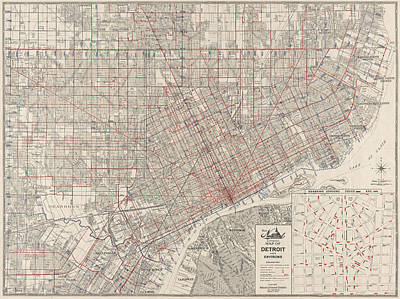 Street Car Drawing - Vintage Map Of Detroit Michigan From 1947 by Blue Monocle