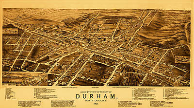 1890s Drawing - Vintage Map Of Durham North Carolina 1891 by Mountain Dreams