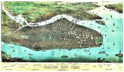 Photograph - Vintage Map Of Greater New York by Benjamin Yeager