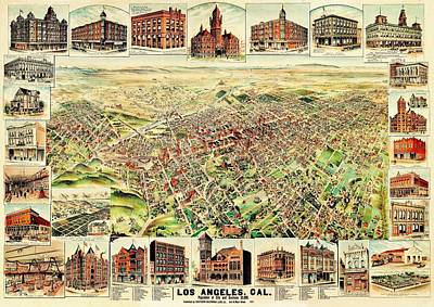 Photograph - Vintage Map Of Los Angeles by Benjamin Yeager