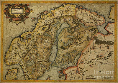 Digital Art - Vintage Map Of Norway And Denmark 1595 by Melissa Messick