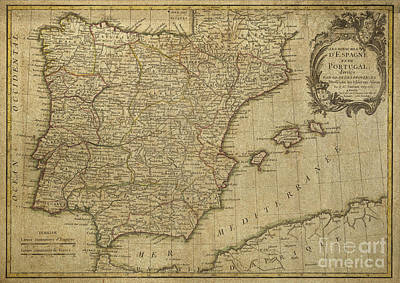 Digital Art - Vintage Map Of Spain And Portugal Dated 1775 by Melissa Messick