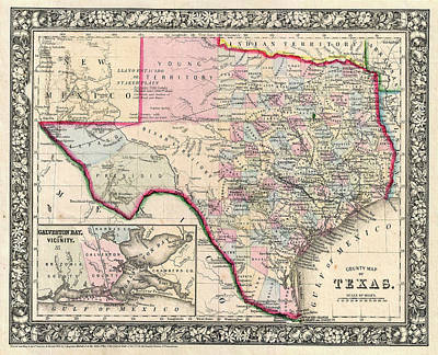 Cartoons Tees - Vintage Map of Texas 1 by Andrew Fare