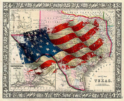 Vintage Map Photograph - Vintage Map Of Texas 2 by Andrew Fare