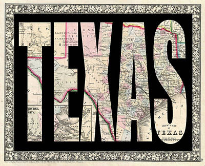 Vintage Map Photograph - Vintage Map Of Texas by Andrew Fare