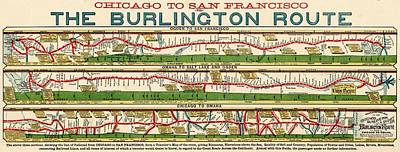 Photograph - Vintage Map Of The Burlington Rail Route by Benjamin Yeager