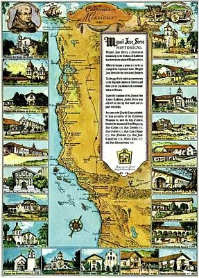 Photograph - Vintage Map Of The California Missions by Benjamin Yeager