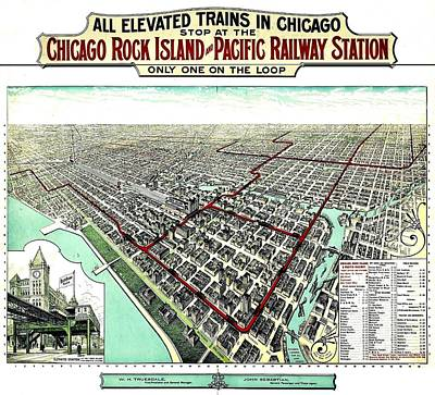 Photograph - Vintage Map Of The Chicago L by Benjamin Yeager