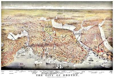 Photograph - Vintage Map Of The City Of Boston by Benjamin Yeager
