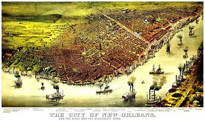 Photograph - Vintage Map Of The City Of New Orleans by Benjamin Yeager