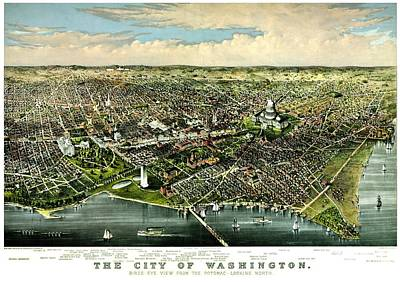 Photograph - Vintage Map Of The City Of Washington by Benjamin Yeager