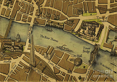 Digital Art - Vintage Map Of The London Brdge by Melissa Messick