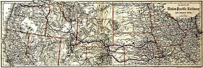 Photograph - Vintage Map Of The Union Pacific Rail Lines by Benjamin Yeager