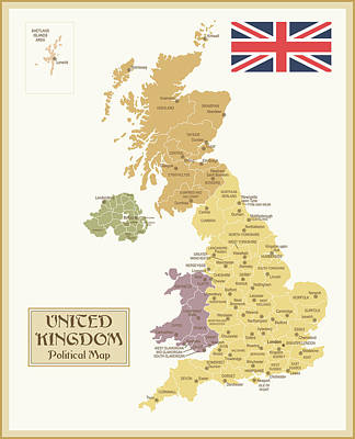 Vintage Map Of United Kingdom Art Print by Pop jop