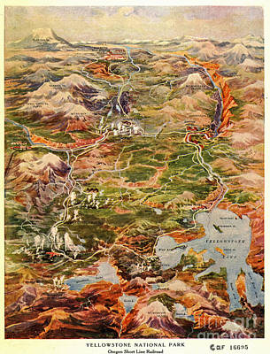 Vintage Map Of Yellowstone National Park Art Print by Edward Fielding