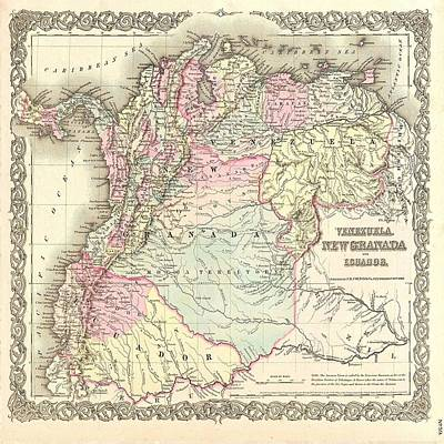Photograph - Vintage Map South America by Florene Welebny