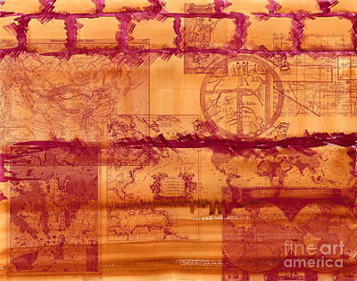 Old Map Painting - Vintage Maps On Burnt Sienna And Rose Madder Wall by Beverly Claire Kaiya