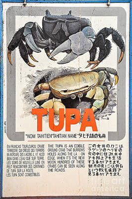 French Signs Photograph - Vintage Market Sign 4 - Papeete - Tahiti - Tupa - Crab by Ian Monk
