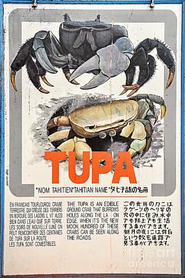 Vintage Market Sign 4 - Papeete - Tahiti - Tupa - Crab Art Print