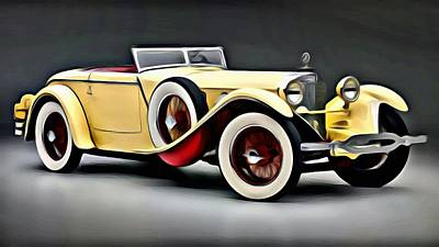 Painting - Vintage Mercedes Convertible by Florian Rodarte