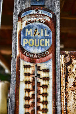 Mail Pouch Photograph - Vintage Metal Mail Pouch Tobacco Thermometer by Paul Ward