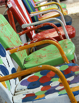 Photograph - Vintage Metal Outdoor Chairs by Ruth Burke