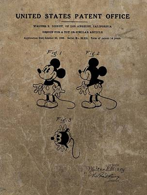 Old Mixed Media - Vintage Mickey Mouse Patent by Dan Sproul
