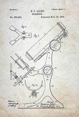 Medicine Photograph - Vintage Microscope Patent  by Paul Ward