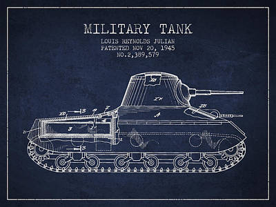 Fight Digital Art - Vintage Military Tank Patent From 1945 by Aged Pixel