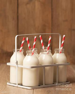 Rack Photograph - Vintage Milk Bottles by Amanda Elwell