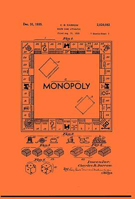 Game Piece Drawing - Vintage Monopoly Game Patent by Mountain Dreams